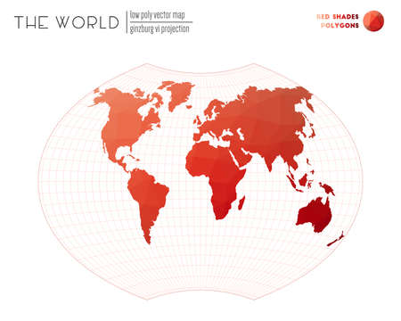 Low poly world map. Ginzburg VI projection of the world. Red Shades colored polygons. Creative vector illustration.  イラスト・ベクター素材