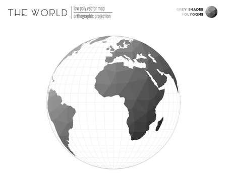 Polygonal map of the world. Orthographic projection of the world. Grey Shades colored polygons. Trending vector illustration.  イラスト・ベクター素材