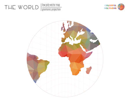 Vector map of the world. Gnomonic projection of the world. Colorful colored polygons. Awesome vector illustration.