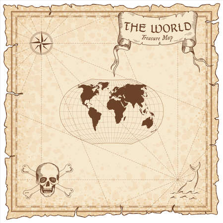 World treasure map. Pirate navigation atlas. Ginzburg V projection. Old map vector.  イラスト・ベクター素材