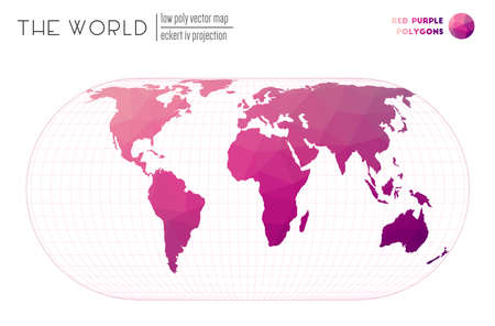 World map with vibrant triangles. Eckert IV projection of the world. Red Purple colored polygons. Energetic vector illustration.