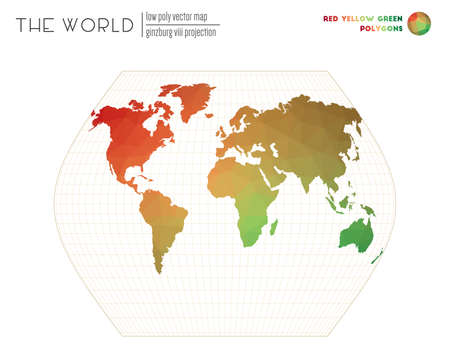 Abstract world map. Ginzburg VIII projection of the world. Red Yellow Green colored polygons. Trending vector illustration.