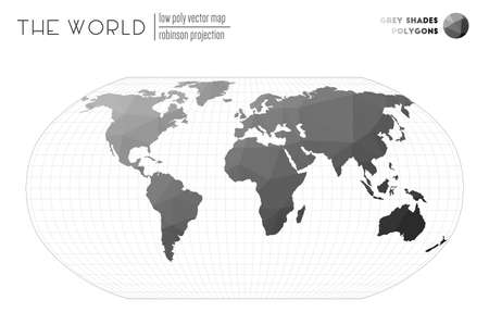 World map with vibrant triangles. Robinson projection of the world. Grey Shades colored polygons. Awesome vector illustration.  イラスト・ベクター素材