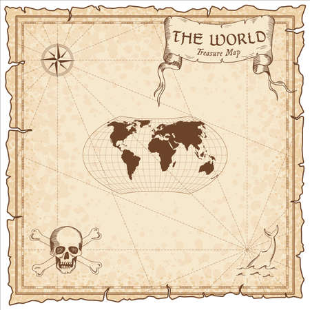 World treasure map. Pirate navigation atlas. Wagner projection. Old map vector. Illustration