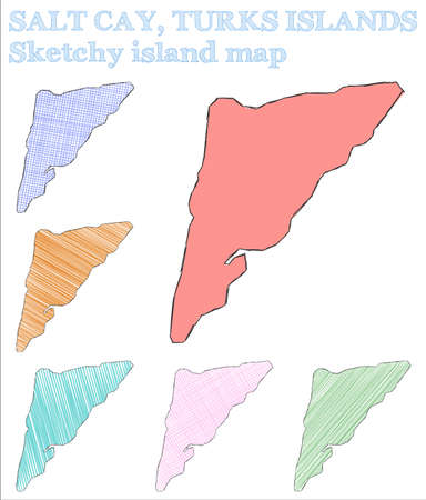 Salt Cay, Turks Islands sketchy island. Great hand drawn island. Immaculate childish style Salt Cay, Turks Islands vector illustration.  イラスト・ベクター素材
