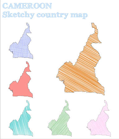 Cameroon sketchy country. Decent hand drawn country. Delicate childish style Cameroon vector illustration.  イラスト・ベクター素材