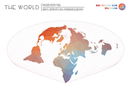 Triangular mesh of the world. Allen K. Philbricks Sinu-Mollweide projection of the world. Red Yellow Blue colored polygons. Stylish vector illustration.