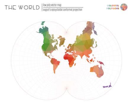Low poly world map. Augusts epicycloidal conformal projection of the world. Colorful colored polygons. Energetic vector illustration.