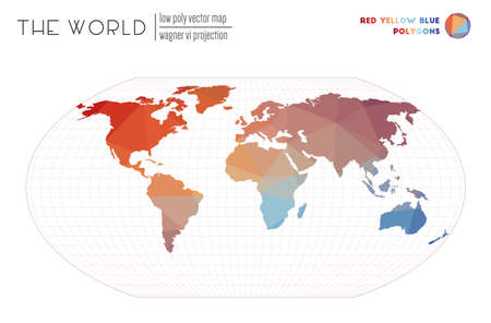 Vector map of the world. Wagner VI projection of the world. Red Yellow Blue colored polygons. Stylish vector illustration.