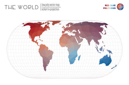 Abstract geometric world map. Eckert IV projection of the world. Red Blue colored polygons. Creative vector illustration.