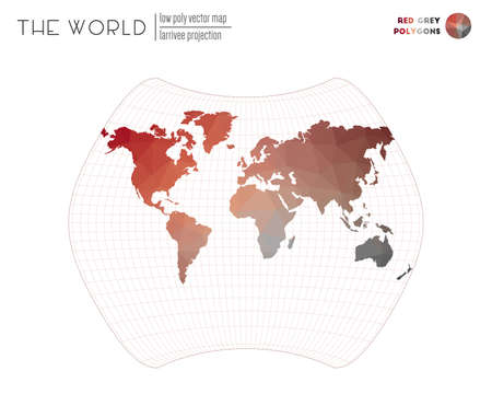 Polygonal map of the world. Larrivee projection of the world. Red Grey colored polygons. Energetic vector illustration.