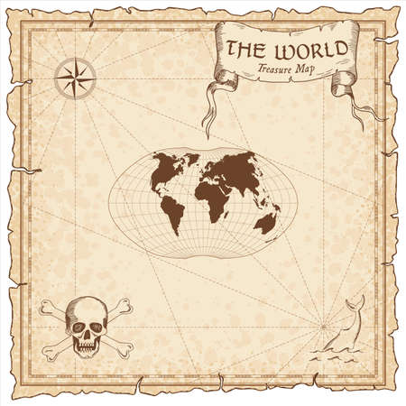 World treasure map. Pirate navigation atlas. Ginzburg IV projection. Old map vector.