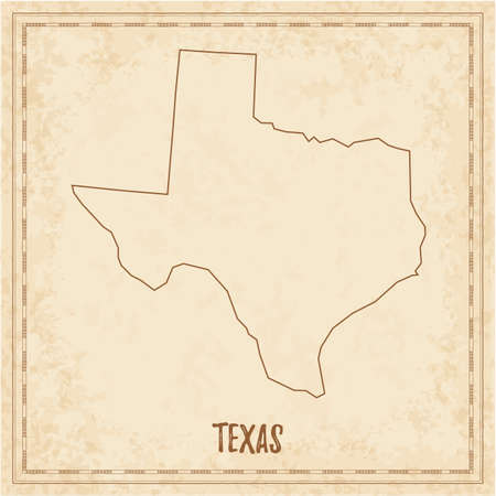 Pirate map of Texas. Blank vector map of the Us State. Vector illustration.