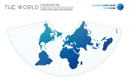 Abstract world map. Albers conic equal-area projection of the world. Yellow Green Blue colored polygons. Awesome vector illustration.