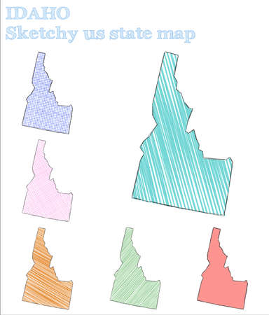 Idaho sketchy us state. Fantastic hand drawn us state. Lively childish style Idaho vector illustration.
