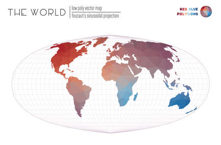 Low poly world map. Foucauts sinusoidal projection of the world. Red Blue colored polygons. Awesome vector illustration.