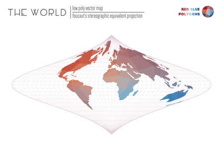 World map with vibrant triangles. Foucauts stereographic equivalent projection of the world. Red Blue colored polygons. Modern vector illustration.