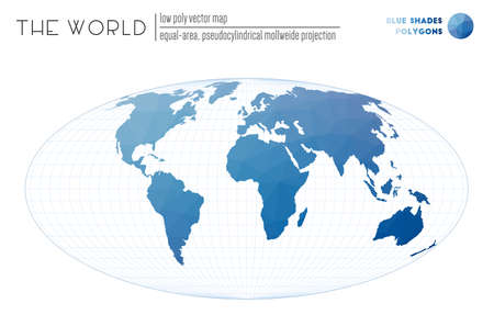 Polygonal world map. Equal-area, pseudocylindrical Mollweide projection of the world. Blue Shades colored polygons. Beautiful vector illustration.