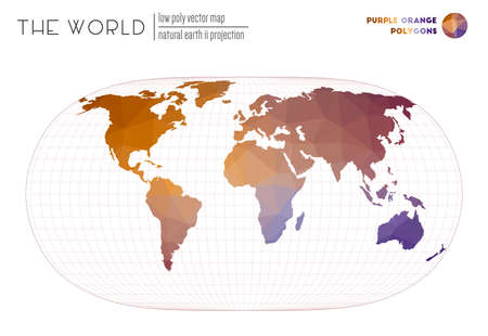 Polygonal world map. Natural Earth II projection of the world. Purple Orange colored polygons. Elegant vector illustration.