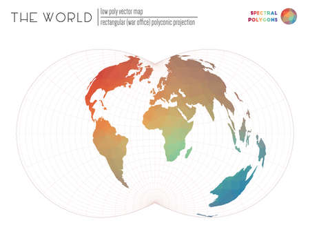 Polygonal map of the world. Rectangular (War Office) polyconic projection of the world. Spectral colored polygons. Modern vector illustration. Ilustração