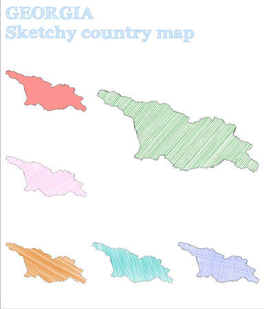 Georgia sketchy country. Fresh hand drawn country. Glamorous childish style Georgia vector illustration. Stok Fotoğraf - 132094637