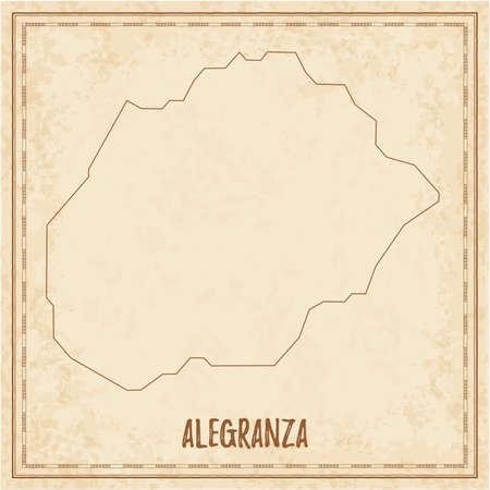 Pirate map of Alegranza. Blank vector map of the Island. Vector illustration.