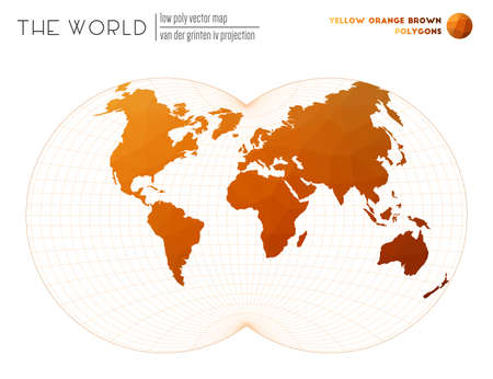 Polygonal map of the world. Van der Grinten IV projection of the world. Yellow Orange Brown colored polygons. Contemporary vector illustration.