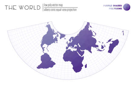 Polygonal map of the world. Albers conic equal-area projection of the world. Purple Shades colored polygons. Creative vector illustration.