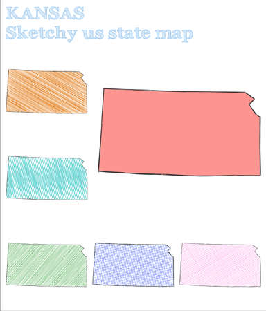Kansas sketchy us state. Fetching hand drawn us state. Magnificent childish style Kansas vector illustration.