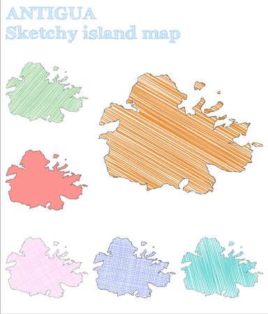 Antigua sketchy island. Fine hand drawn island. Fresh childish style Antigua vector illustration.  イラスト・ベクター素材