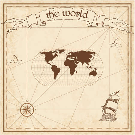 World pirate map. Ancient style navigation atlas. Natural Earth projection. Old map vector.