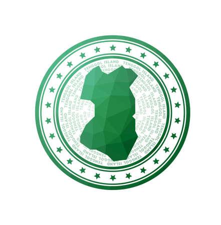 Flat low poly stamp of Tenggol Island. Polygonal Tenggol Island badge. Trendy vector   of the island.