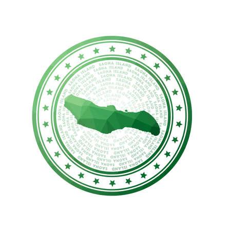 Flat low poly stamp of Saona Island. Polygonal Saona Island badge. Trendy vector   of the island. Ilustração