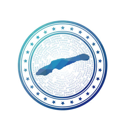 Flat low poly stamp of Little Cayman. Polygonal Little Cayman badge. Trendy vector of the island.