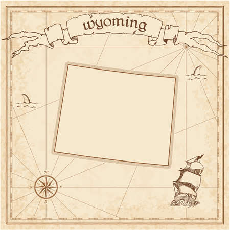 Wyoming treasure map. Ancient style map template. Old us state borders. Vector illustration. 向量圖像