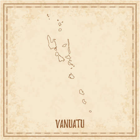 Pirate map of Vanuatu. Blank vector map of the Country. Vector illustration.