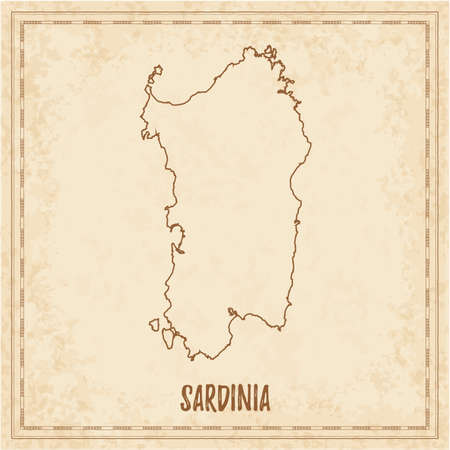 Pirate map of Sardinia. Blank vector map of the Island. Vector illustration.