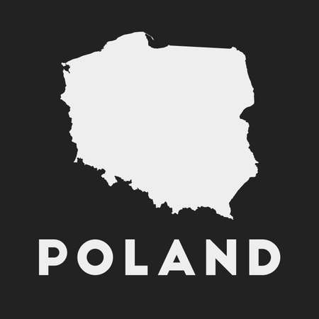 Poland icon. Country map on dark background. Stylish Poland map with country name. Vector illustration.