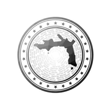 Flat low poly stamp of Peter Island. Polygonal Peter Island badge. Trendy vector of the island. Çizim