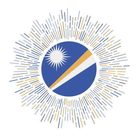 Marshall Islands sign. Country flag with colorful rays. Radiant sunburst with Marshall Islands flag. Vector illustration. Иллюстрация