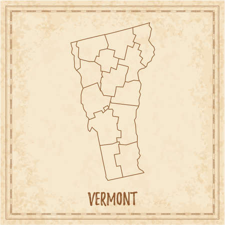 Pirate map of Vermont. Blank vector map of the Us State with counties. Vector illustration.