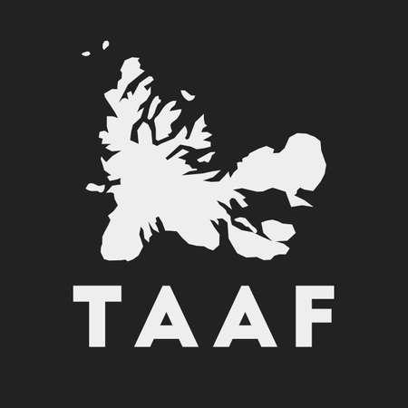 Icône TAAF. Carte du pays sur fond sombre. Carte TAAF élégante avec le nom du pays. Illustration vectorielle.