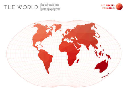 Abstract world map. Ginzburg IV projection of the world. Red Shades colored polygons. Beautiful vector illustration.