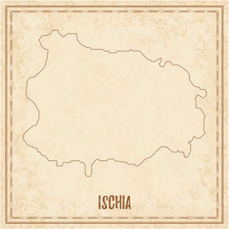 Pirate map of Ischia. Blank vector map of the Island. Vector illustration. Archivio Fotografico - 132797082