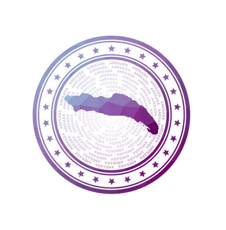Flat low poly stamp of Anegada. Polygonal Anegada badge. Trendy vector   of the island.