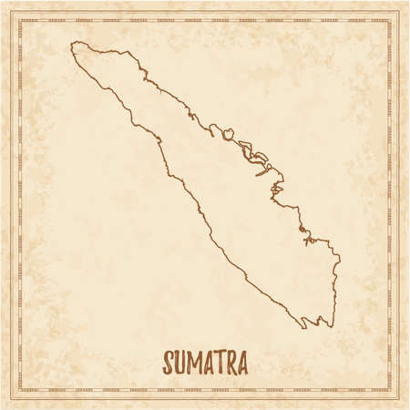 Pirate map of Sumatra. Blank vector map of the Island. Vector illustration.