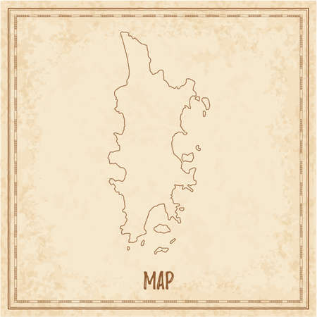 Pirate map of Phuket. Blank vector map of the Island. Vector illustration.
