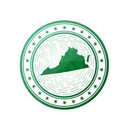 Flat low poly stamp of Virginia. Polygonal Virginia badge. Trendy vector   of the us state.
