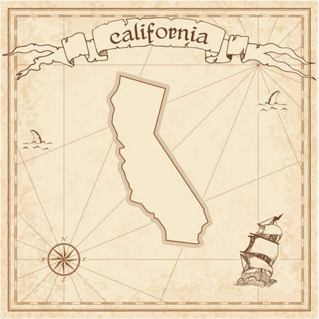 California treasure map. Ancient style map template. Old us state borders. Vector illustration.  イラスト・ベクター素材
