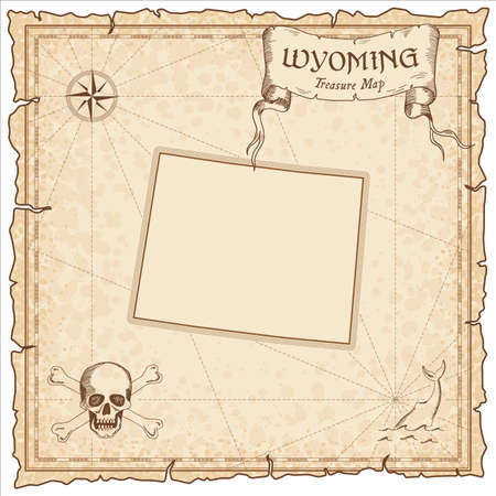 Wyoming pirate map. Ancient style map template. Old us state borders. Vector illustration.